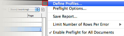 Define Preflight Pofiles